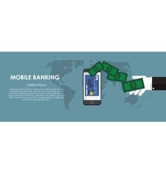 Mobile banking  flat computing vector