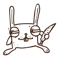 Hand drawn scheming bunny vector