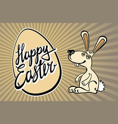 Easter bunny with the lettering happy easter vector