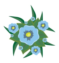 beautiful blue flowers with leaves vector image vector image