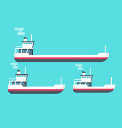 boats set flat cartoon small vector image