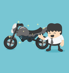 Business man with a new motorcycle vector