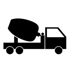 Cement mixers truck the black color icon vector