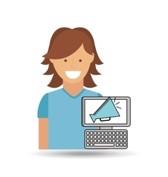 cheerful girl conecpt cinema online speaker design vector image