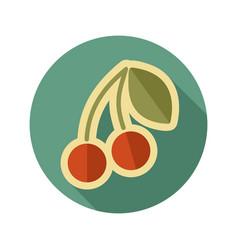 Cherry flat icon fruit vector