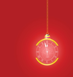 Christmas clock on red vector