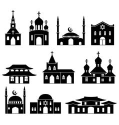 Church building black icons set vector