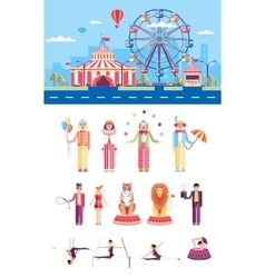 Circus with artists vector image