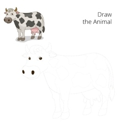 Draw the animal cow educational game vector image vector image