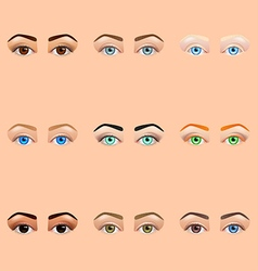 Female eyes and brows icons set vector