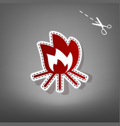 Fire sign red icon with for applique from vector