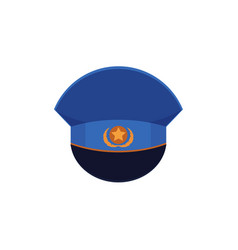 Flat icon of officer military cap with cockade vector