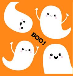 flying ghost spirit set boo happy halloween vector image vector image