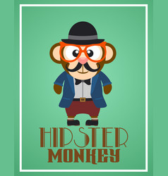 funny hipster monkey vector image