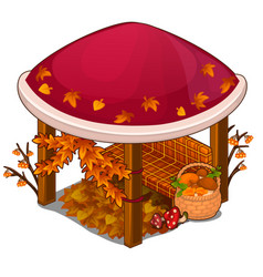 Gazebo with red roof and sofa in autumn style vector