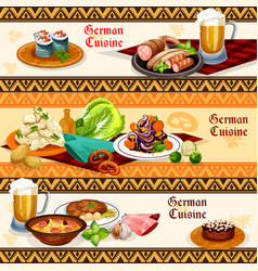 German cuisine restaurant or pub menu banner set vector