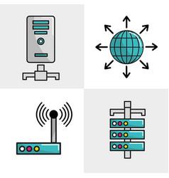 Internet banner data connection services vector