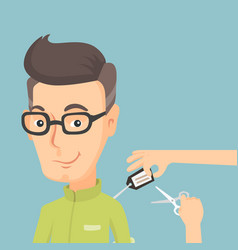 Man cutting price tag off new shirt vector