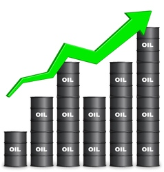 Oil barrels arranged in bar graph form up trend vector
