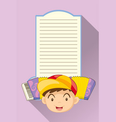 paper template with boy and accordion vector image vector image