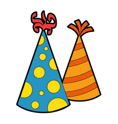 party hats decorative icon vector image