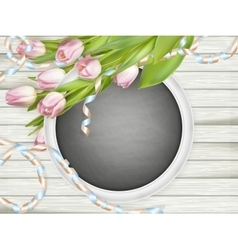 Pink tulips and chalkboard frame EPS 10 vector image