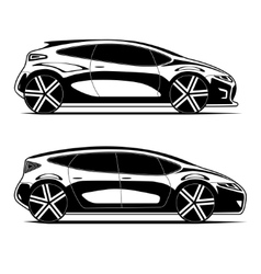 Silhouettes of modern cars isolated on white vector