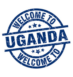 Welcome to uganda blue stamp vector