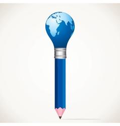 World map bulb pencil stock vector