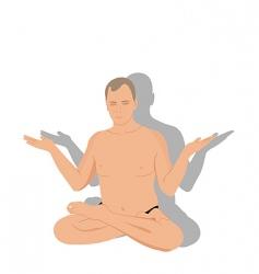 yoga man meditates vector image vector image