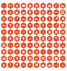 100 school years icons hexagon orange vector image