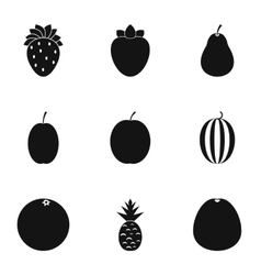 Fruit icons set simple style vector