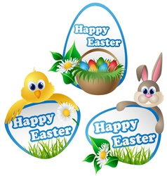 Easter label set with cartoon characters vector