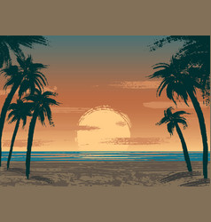 ocean sunset vector image