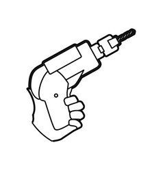 Hand electric drill carpentry tool vector