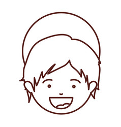 Brown silhouette of face child jesus vector