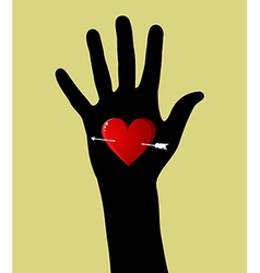 Valentines day heart in hand vector image