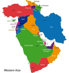 Western Asia map vector image
