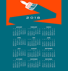 2018 creative painting calendar vector image