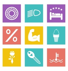 Color icons for web design set 34 vector