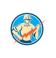 Electrician holding lightning bolt circle retro vector