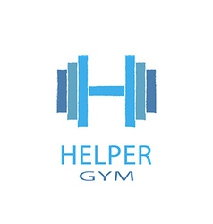 Dumbbell idea h letter logo of gym fitness blue vector