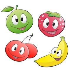 cute cartoon fruits vector image