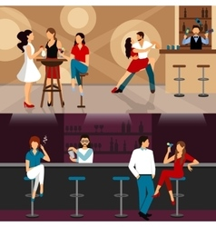 People drinking in bar vector