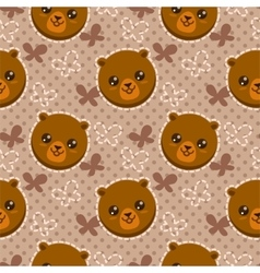 Seamless pattern with cute bear faces vector