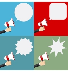 Megaphone and speech bubbles vector