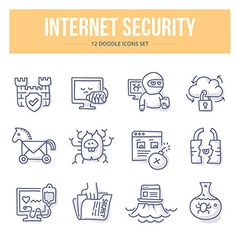 Internet security doodle icons vector