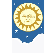 Sun Face and Clouds at night vector image