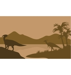 Silhouette of parasaurolophus in lake vector