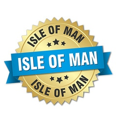 Isle of man round golden badge with blue ribbon vector